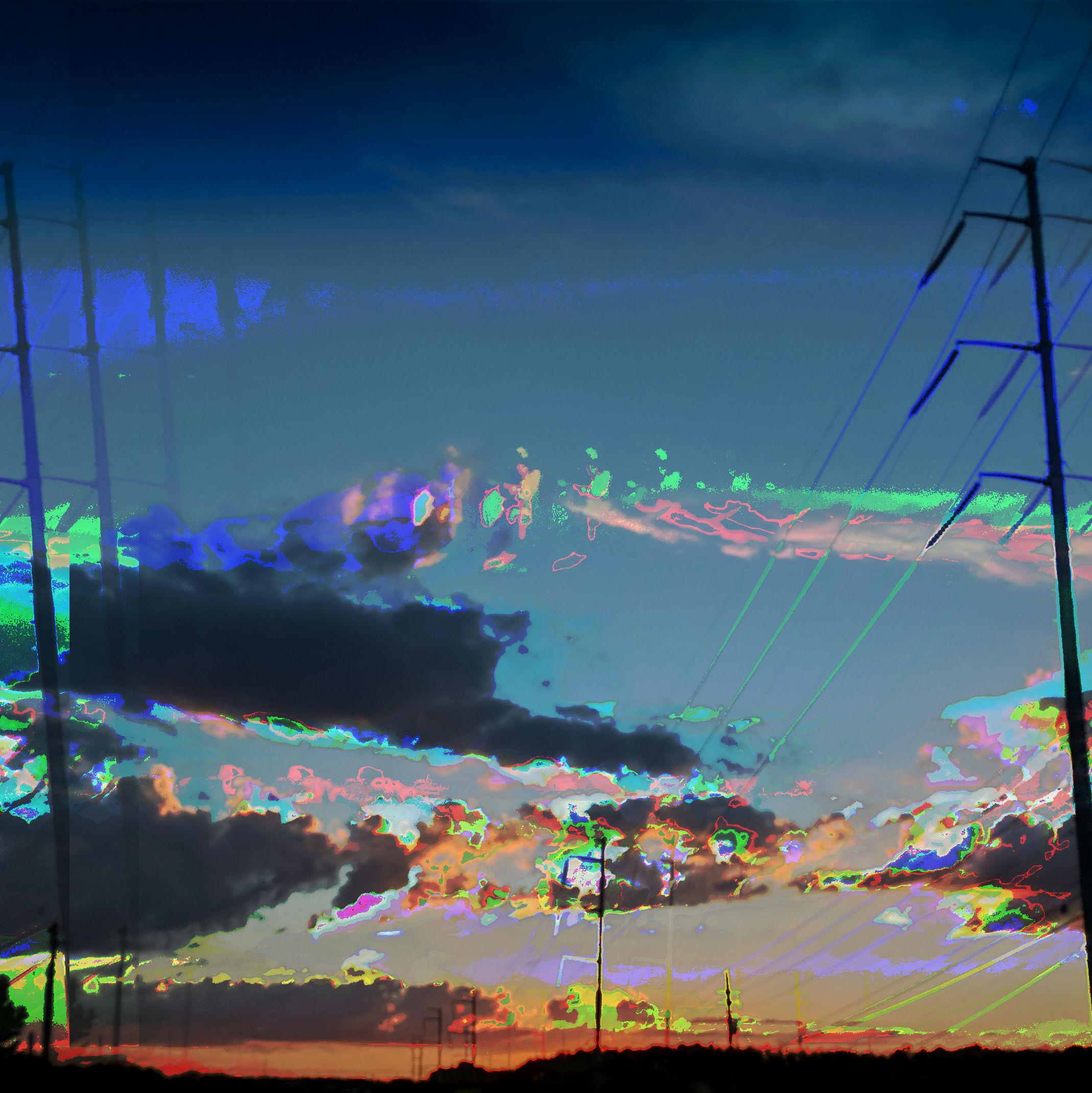 2 sets of powerlines are meeting the sunset in the horizon. A dark skyline of trees is visible. The extire image is distorted and covered in corrupted color